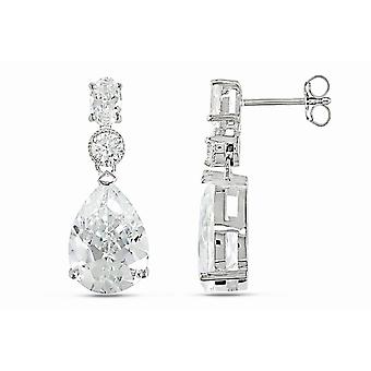 Affici 18ct White Gold Plated Sterling Silver Drop Earrings with Diamond CZ Gems