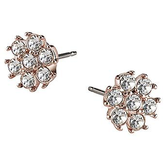 Guess ladies earrings flower stainless steel of Rosé gold cubic zirconia UBE21543