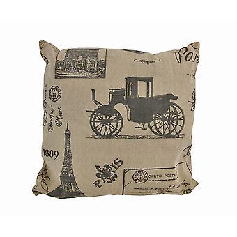Tan/Brown lienzo postal francesa París victoriana impresión Throw Pillow en 16.