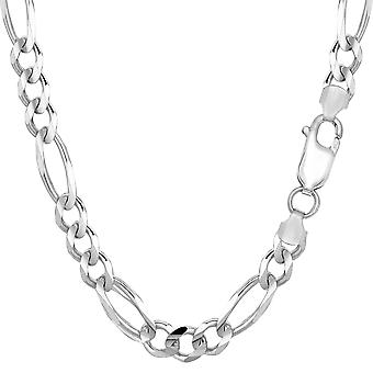 14k White Gold Classic Figaro Chain Bracelet, 6.0mm, 8