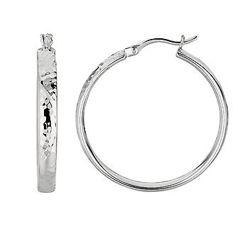 Sterling Silver Rhodium Finish Shiny Hammered Finish Domed Tube Round Hoop Earrings  - 35 mm Diameter