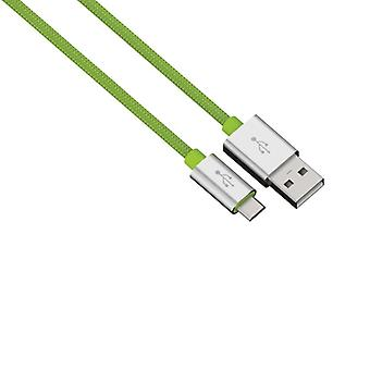 HAMA Synkabel MicroUSB 0.5 m Colorline Грин