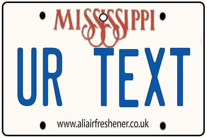 Personalised Mississippi Numberplate Car Air Freshener