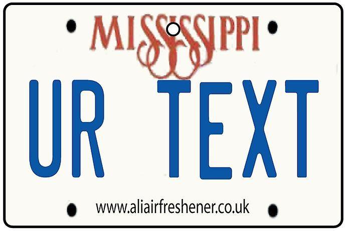 Ambientador de aire de coche de matrícula personalizada Mississippi