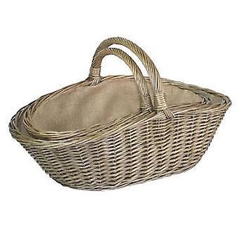 Small Antique Wash Harvesting Wicker Basket