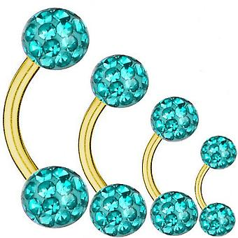 Curved Barbell Gold Plated Titanium 1,6 mm, Multi Crystal Ball Aquamarine | 6-16