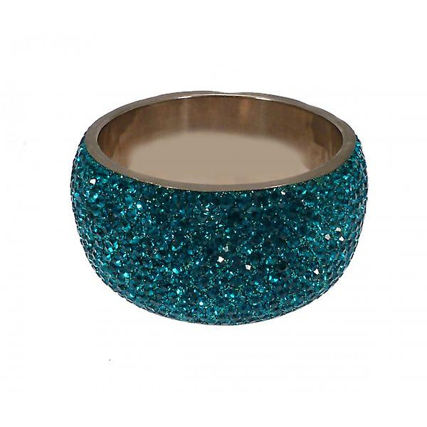 W.A.T Extra Large Big Chunky Crystal Bangle Teal Crystals