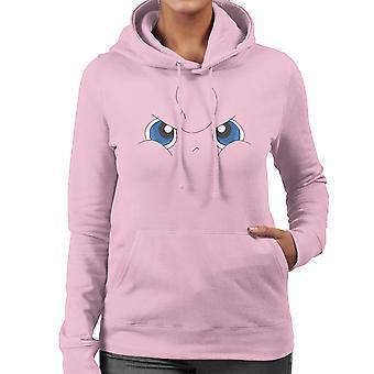 Grumpy Jigglypuff Face Pokemon Women's Hooded Sweatshirt