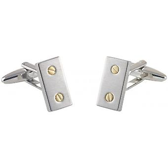 David Van Hagen Screw Rectangle Cufflinks - Silver/Gold