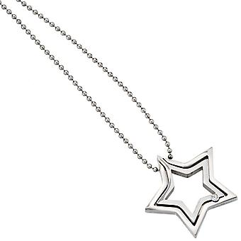 Necklace necklace star stainless steel 1 Crystal 48 cm lobster clasp