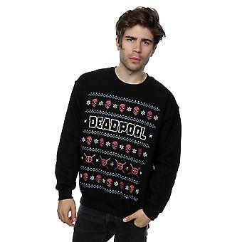 Marvel Men's Deadpool Logo Christmas Sweatshirt