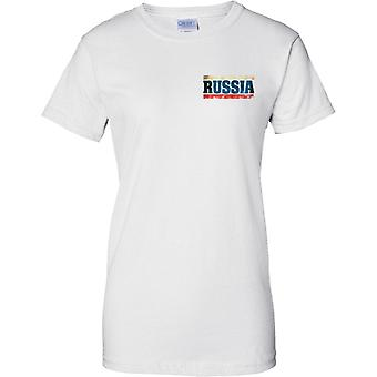 Russia Federation Grunge Country Name Flag Effect - Tricolour - Ladies Chest Design T-Shirt