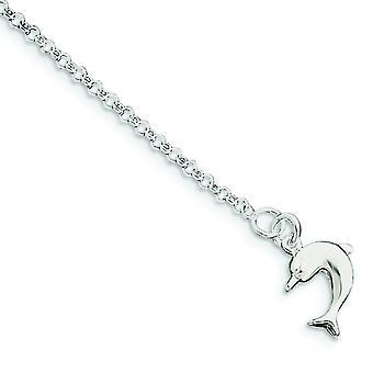 Sterling sølv hul polert Dolphin Anklet - våren Ring - lengde: 9-10