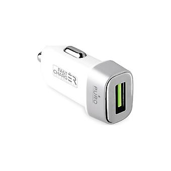 Puro Uni. Mini Car Fast Charger, 1 USB, 2,4A, vit