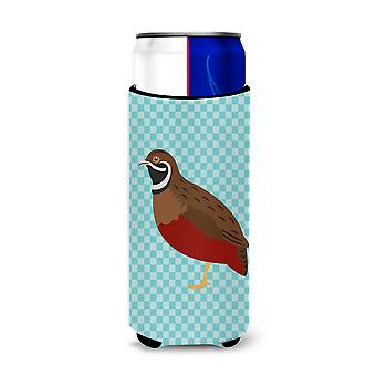 Chinese Painted or King Quail Blue Check Michelob Ultra Hugger for slim cans