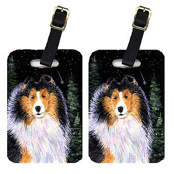 Carolines Treasures  SS8491BT Starry Night Collie Luggage Tags Pair of 2