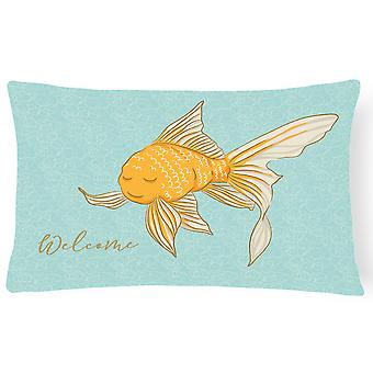 Gold Fish Welcome Canvas Fabric Decorative Pillow