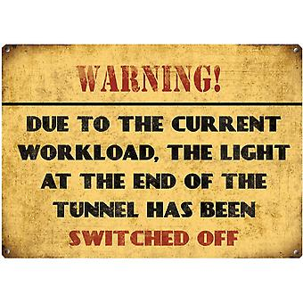 Warning Due To Current Workload Metal Wall Sign