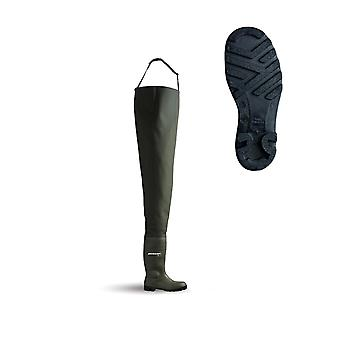 Dunlop Chest Wader Waterproof, Steel Toe And Midsole. Green - Pcwfs