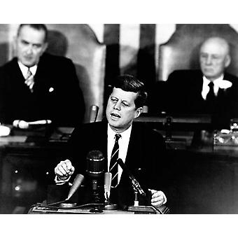 President John F Kennedy Man on the Moon Speech Before Congress May 25 1961 Poster Print by McMahan Photo Archive (10 x 8)
