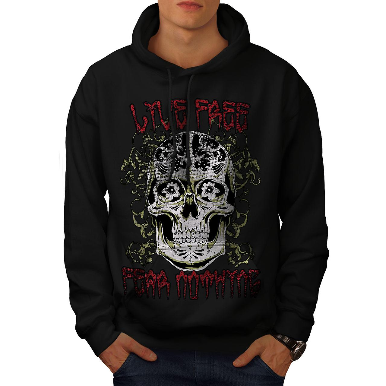 Live Fear Nothing Skull Men Black Hoodie | Wellcoda