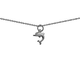 Серебряный 11х11мм Дельфин Кулон с Роло цепи 24 дюймов