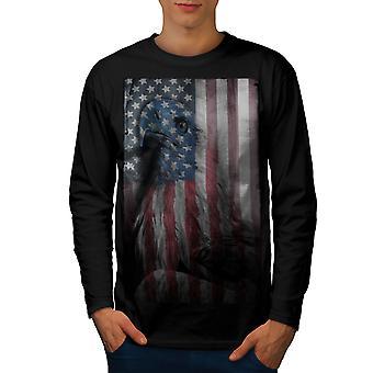 American Eagle herlighed mænd BlackLong ærmet T-shirt | Wellcoda