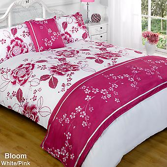 Bed In A Bag Duvet Set Quilt Cover - Bloom White & Purple - Single