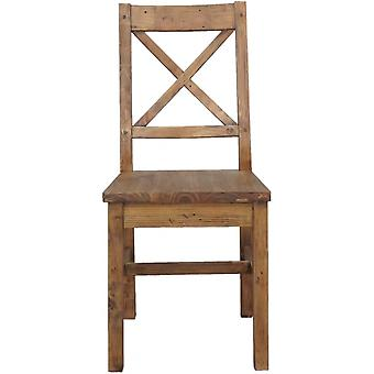 Classic Pair Of Camden Cross Back Reclaimed Pine Wooden Seat Dining Chairs