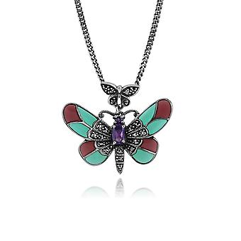Gemondo argento 0,25 ct ametista, Marcasite & smalto farfalla collana