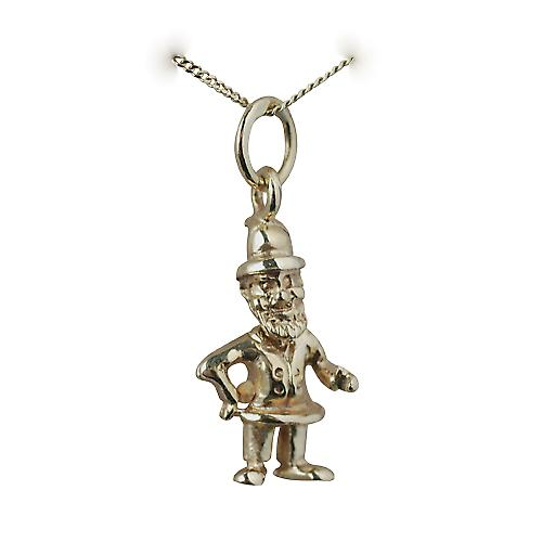 9ct Gold 17x9mm Leprechaun Pendant with a curb Chain 16 inches