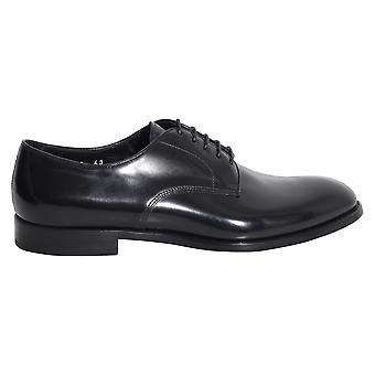 Doucal's men's 1003UF7EOLDNERO black leather lace-up shoes