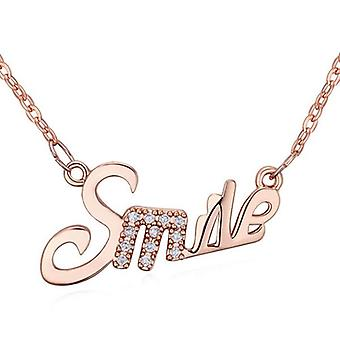 Womens Rose Gold Girls Smile Happy Pendant Necklace