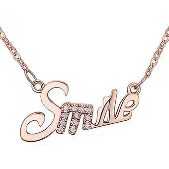 Womens Rose guld flickor leende glada hängsmycke halsband 66212c7b50733