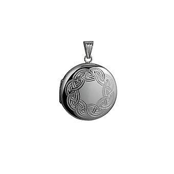 Zilver 29mm Celtic gegraveerd ronde medaillon