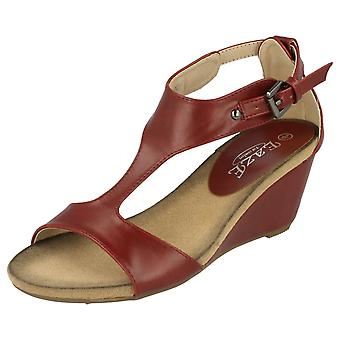 Ladies Eaze Open Toe T-Bar Wedge Mules