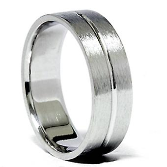 Channel Brushed Wedding Band 14K White Gold
