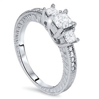 1ct Princess Cut diamant antik Ring 14K guld