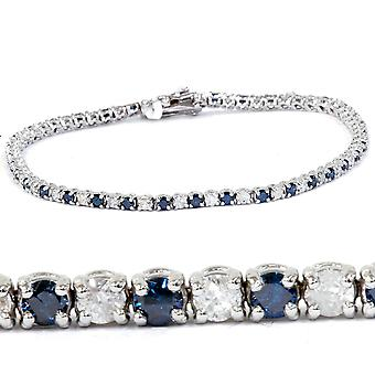 1 1/2ct Blue and White Diamond Tennis Bracelet 14K White Gold