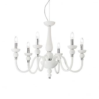 Ideal Lux Doge French White 6 Arm Ceiling Pendant Light