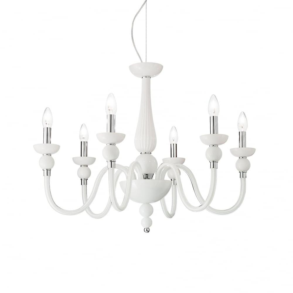 Ideal Lux Doge French blanc 6 Arm Ceiling Pendant Light