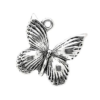 Packet 10 x Antique Silver Tibetan 18mm Butterfly Charm/Pendant ZX10300