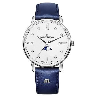 Maurice Lacroix Eliros Moonphase Blue Leather Strap Silver Dial EL1096-SS001-150-1 Watch