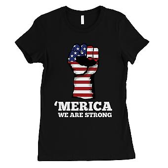 Merica Strong Womens Black T-Shirt Short Sleeve Patriotic Gifts