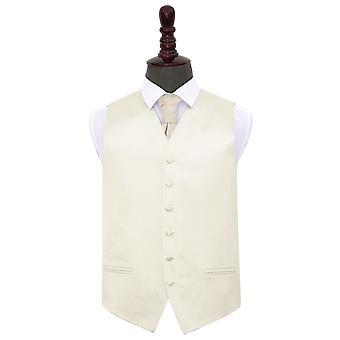 Ivory Plain Satin Wedding Waistcoat & Cravat Set