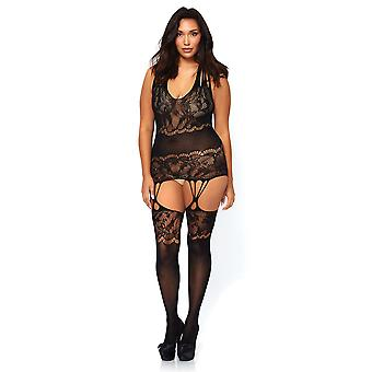 Womens Plus Size Sexy Seamless Floral Lace Suspender Bodystocking Lingerie