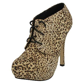 Ladies Spot On High Heel Platform Ankle Boot