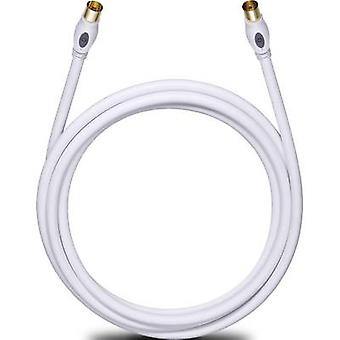 Antennas, SAT Cable [1x Belling-Lee/IEC plug 75Ω - 1x Belling-Lee/IEC socket 75Ω] 5.10 m 120 dB gold plated connectors White Oehlbach Transmission Plus