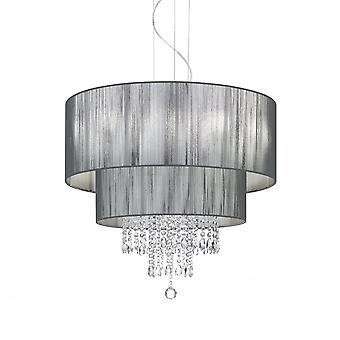 Ideal Lux Opera 6 Light Black Drum Shade Crystal Pendant
