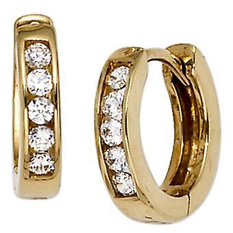 Обручи Klappcreolen вокруг 333 золота желтого золота с 10 кубического циркония серьги Золотые серьги золото